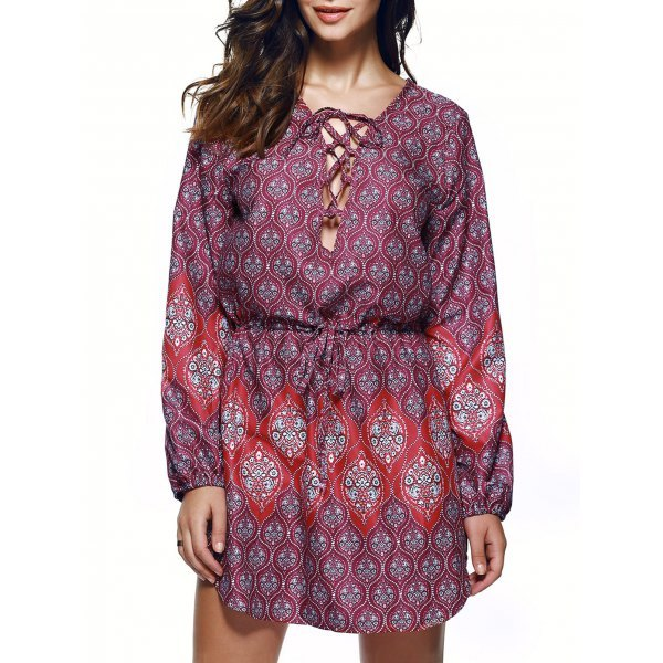Bohemian Lace Up Drawstring Print Tunic Dress - L