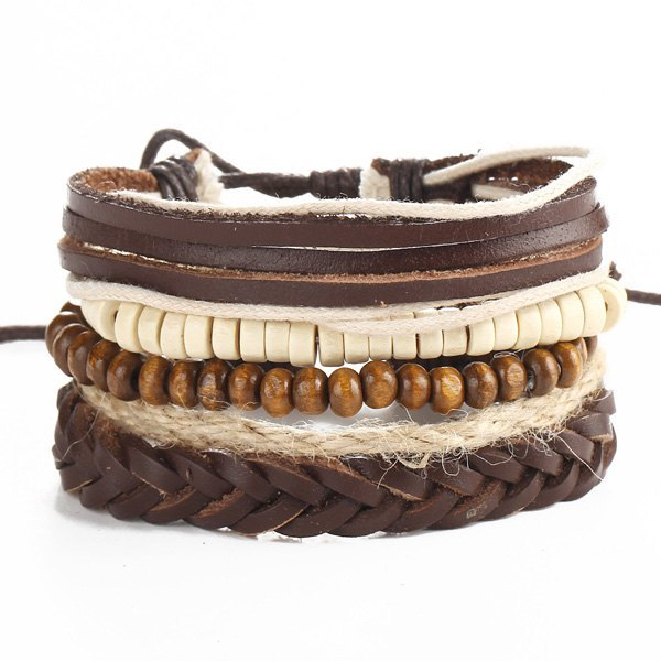 Beaded Faux Leather Wrap Bracelets - Brown