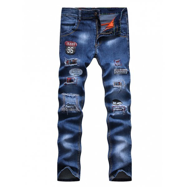 Appliques Patch and Holes Design Zipper Fly Narrow Feet Jeans For Men - Blue 30