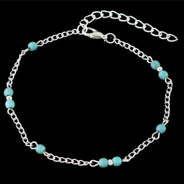 Bohemian Style Faux Turquoise Beaded Anklet - Silver