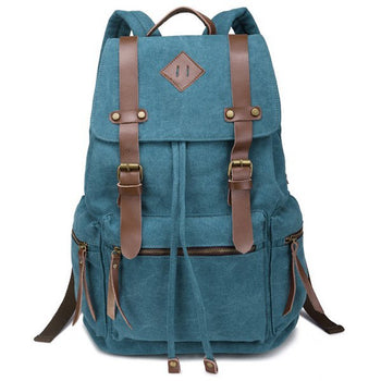 Zippers Double Buckle Canvas Backpack - Lake Blue