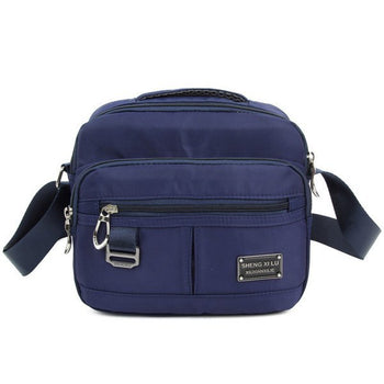 Zipper Metal Nylon Crossbody Bag - Purplish Blue