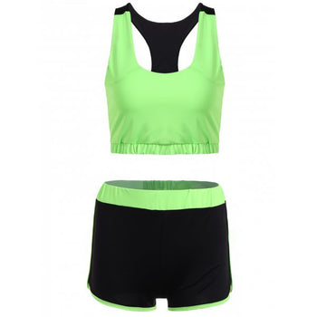 Racerback U Neck Sporty Bra and Shorts Twinset - Neon Green M