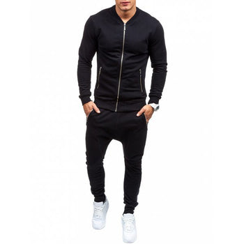 Zippered Pockets Jacket and Jogger Pants Twinset - Black 3xl