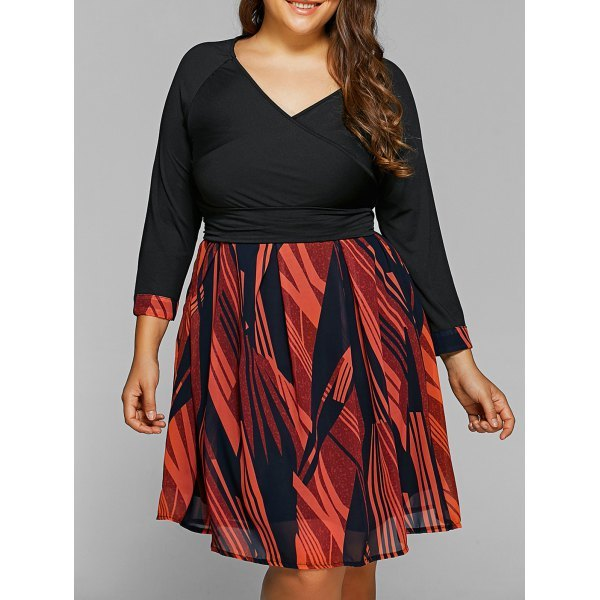 Back Lace-Up Geometry Print Plus Size Dress - Black Xl