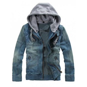 Zippered Removable Hood Denim Jacket - Denim Blue L