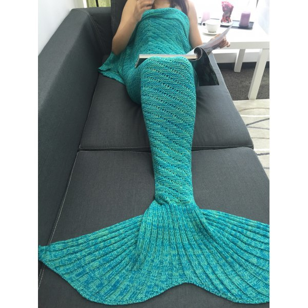 Bedroom Decor Hollow Out Crochet Knit Mermaid Blanket - Green
