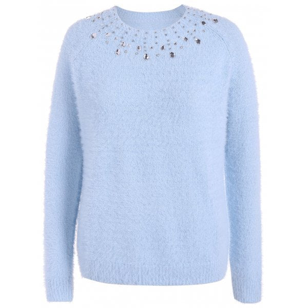 Beading Raglan Sleeve Sweater - Light Blue 3xl