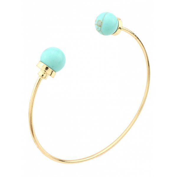 Artificial Turquoise Beads Bohemian Cuff Bracelet - Green