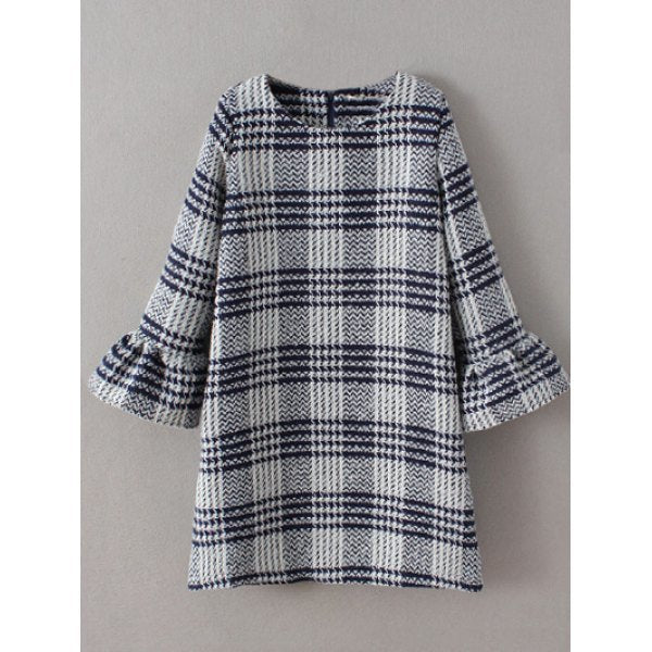 Bell Sleeve Checked Thick Shift Dress - Gray M