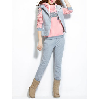 Hooded Graphic Color Block Three Piece Gym Suit - Shallow Pink M