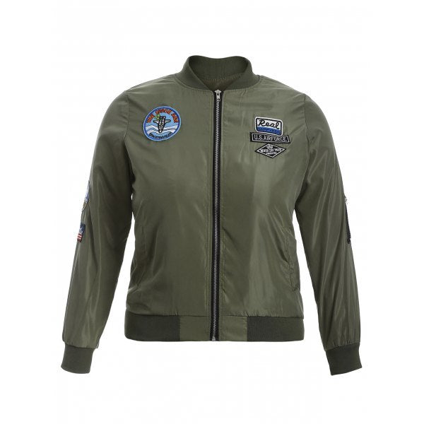 Badge Design Zip Up Bomber Jacket - Army Green 3xl