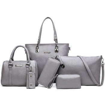 Zipper Tote Handbag 6 Pc Set - Deep Gray