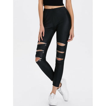 Zippers Ripped Ninth Length Leggings - Black One Size