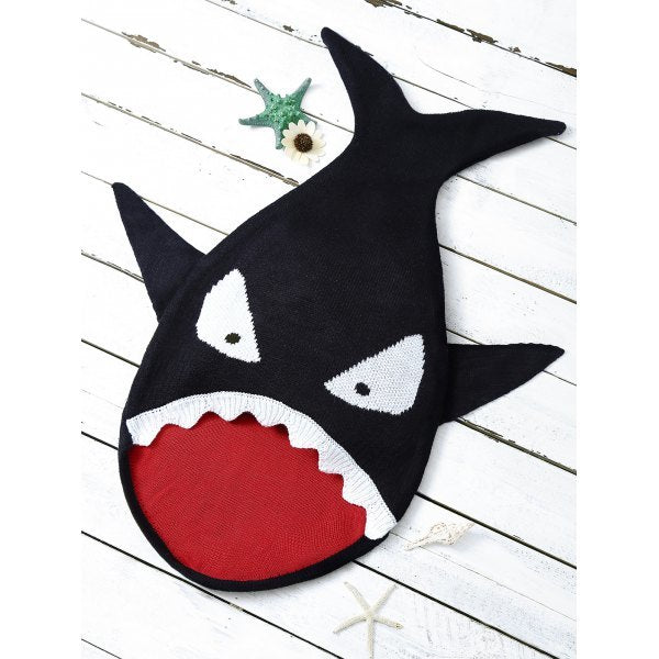 Baby Cartoon Shark Shape Blanket Throw Personalized - Black
