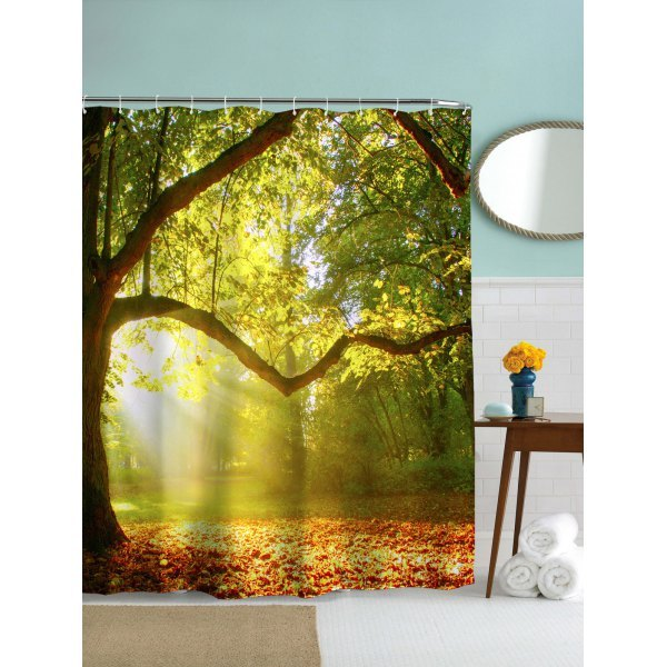 Big Tree Pattern Waterproof Mouldproof Shower Curtain - Yellow And Green 180cm*180cm