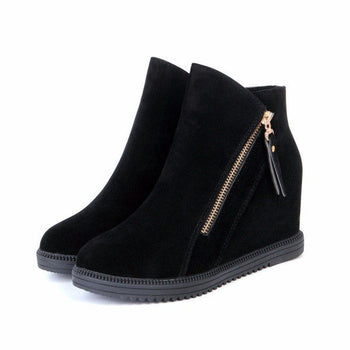 Zipper Wedge Heel Suede Heel Increasing Ankle Boots