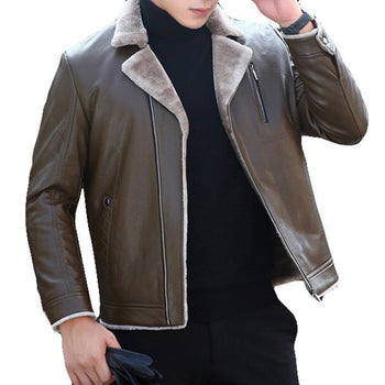 Zipper Up Faux Leather Jacket