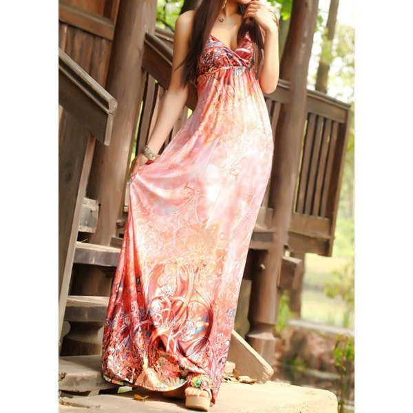 Bohemian Style Halterneck Printed Backless Women's Maxi Dress - Watermelon Red One Size