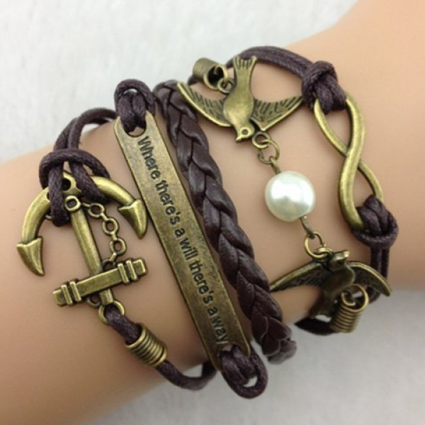 Anchor Peace Dove Multilayered Bracelet - Deep Brown