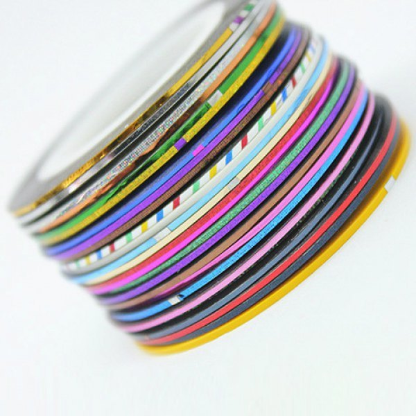 30 PCS Hot Sale Mixed Color Nail Rolls Striping Tape Line DIY Sticker
