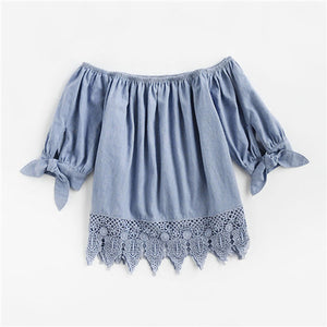 Women's Blue Crochet Trim Bow Tie Cuff Chambray Blouse