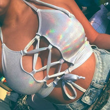 Silver Holographic Women Crop Top Rave Festival  Top Clothes Outfits Punk Laser Hologram Foil Fabric Lace Up Women Tank Top