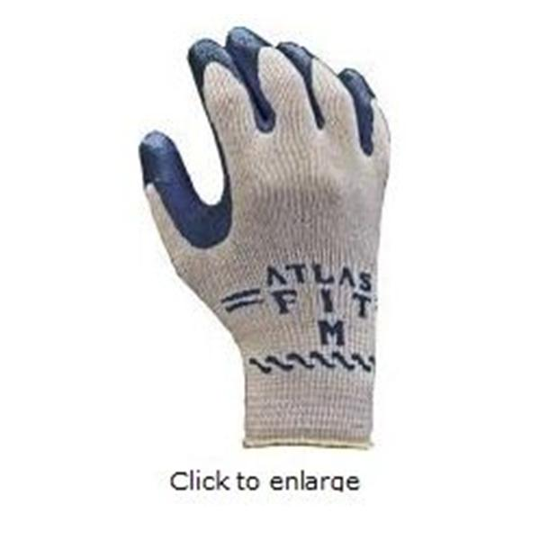 Best Glove Gloves GP Atls Ft 300B Knt Ctn/Ltx Plm Ctng Md Gr/Blk 12/Pk