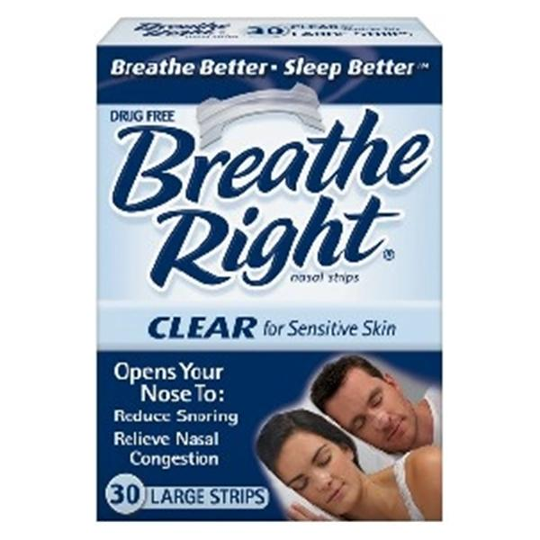 CNS Breathe Right Nasal Strips Nose Large Clear f/ Snrng/Cngstn 30/Bx