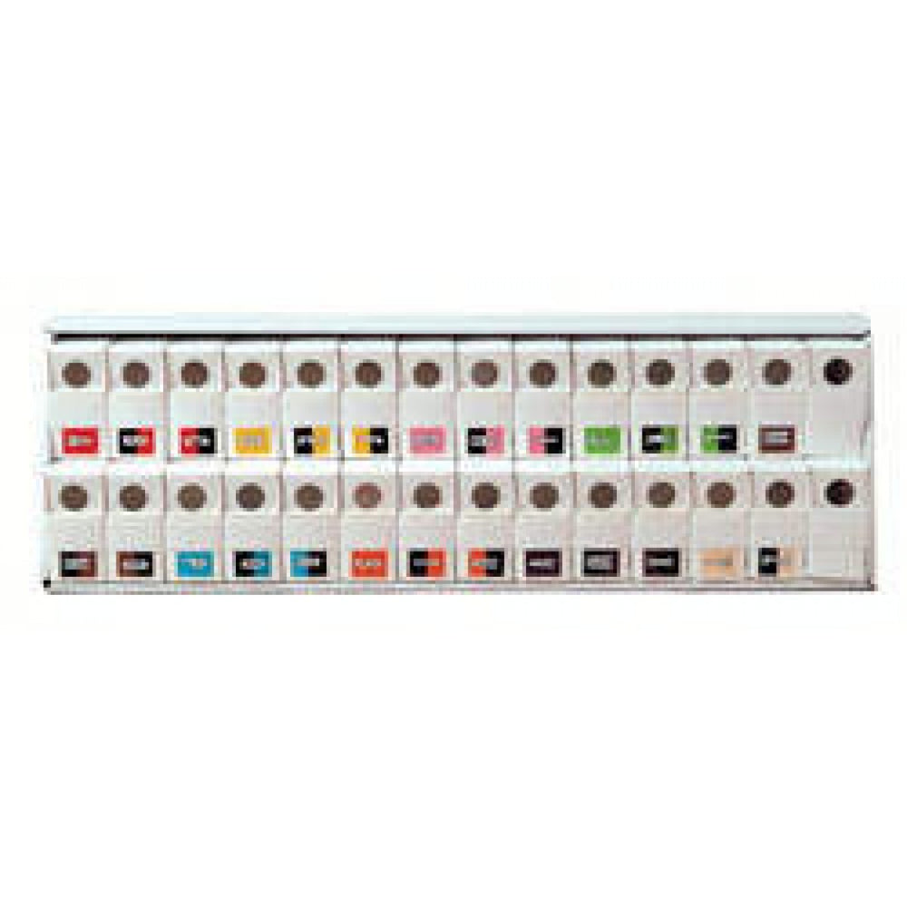 "Kardex Compatible Color-Code Label Set Alphabetical Compatible Series 1 5/8"" X 1 1/4"" 500/Roll, 26 Rolls/Set"