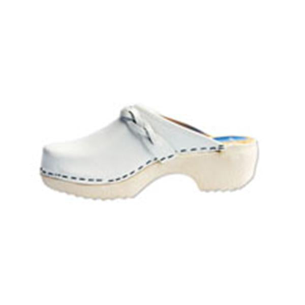 Cape Clogs  Clog Open Back Leather / Wood Base Womens Adult White Size 7 Ea