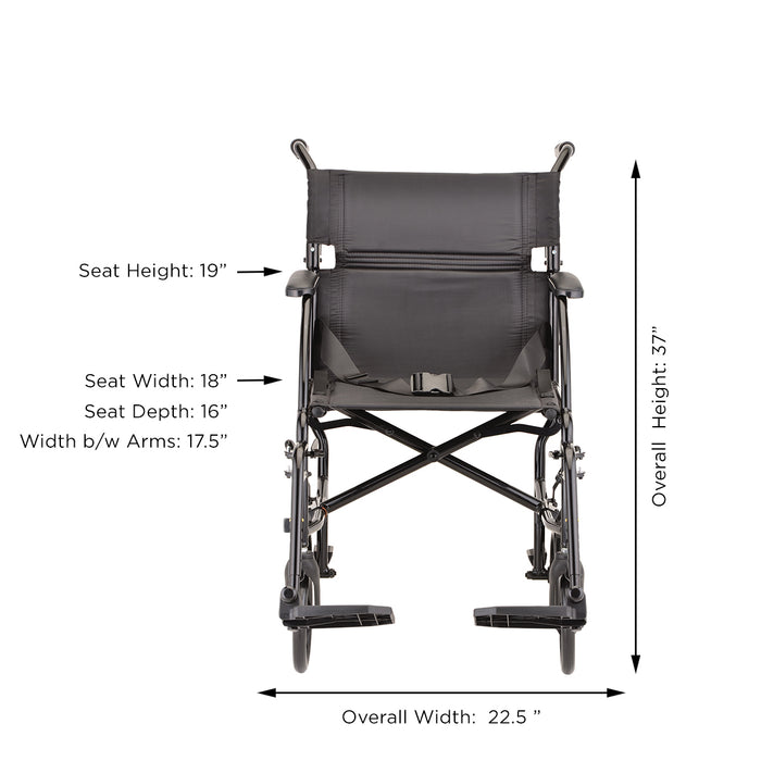 Transport Chair with Fixed Arms
