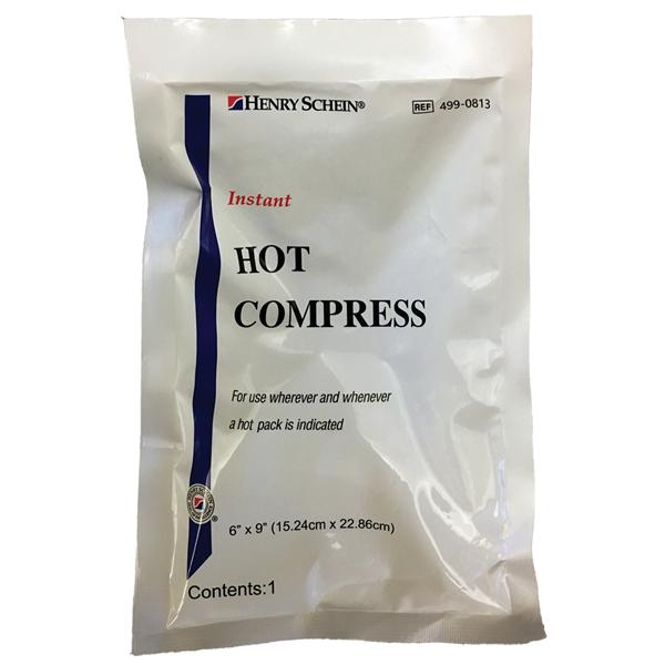 "Henry Schein  Compress Hot Henry Schein Instant Disposable White 6x8.25"" 24/Ca"