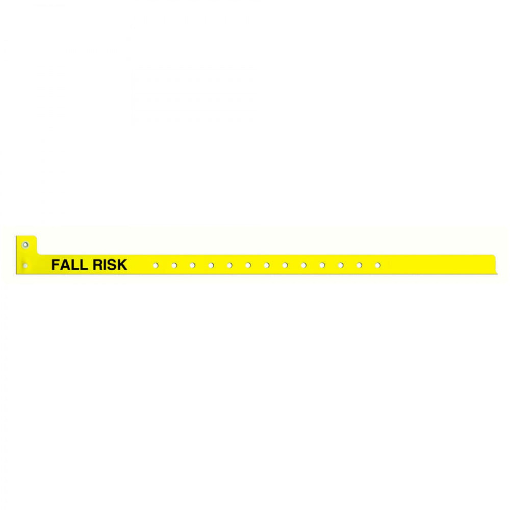 "Sentry Alert Wristband Poly ""Fall Risk"" Pre-Printed, State Standardization 1/2"" X 10"" Adult/Pedi Yellow - 500 Per Box"
