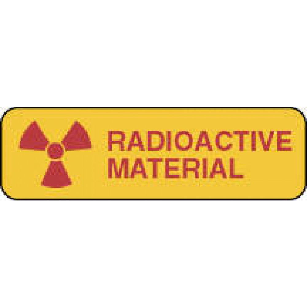 "Label Paper Permanent Radioactive Material 1 1/4"" X 3/8"" Yellow 1000 Per Roll"