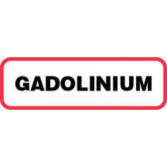 "Label Paper Permanent Gadolinium 1 1/4"" X 3/8"" White With Red 1000 Per Roll"