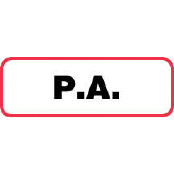 "Label Paper Permanent P.A. 1 1/2"" X 1/2"" White With Red 1000 Per Roll"