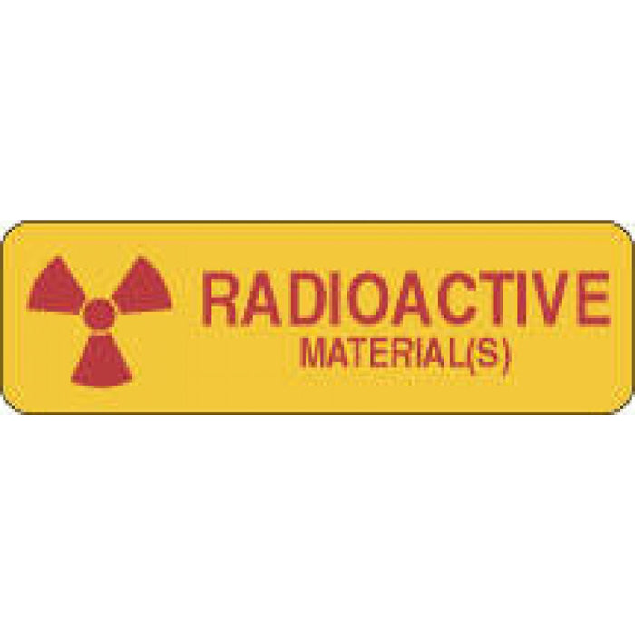 "Label Paper Permanent Radioactive Material 2 7/8"" X 7/8"" Yellow 1000 Per Roll"