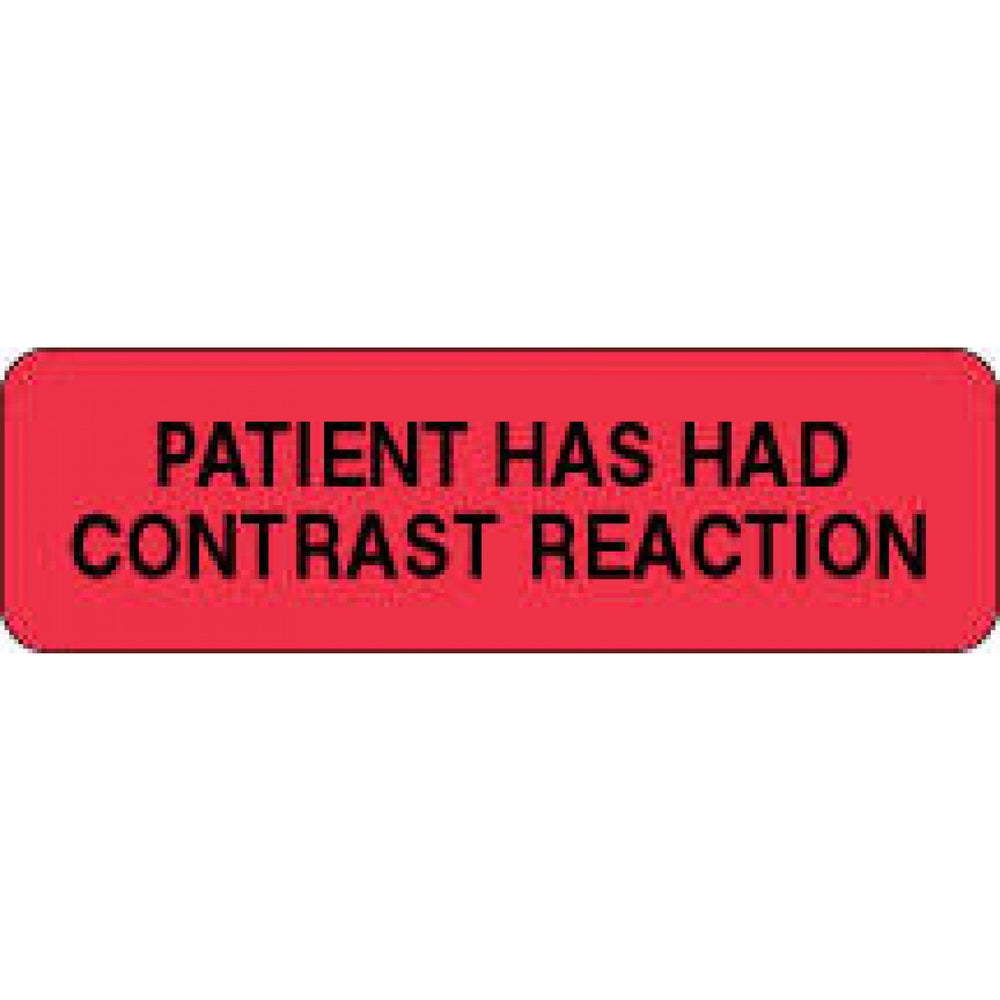 "Label Paper Permanent Patient Has Had 2 7/8"" X 7/8"" Fl. Red 1000 Per Roll"