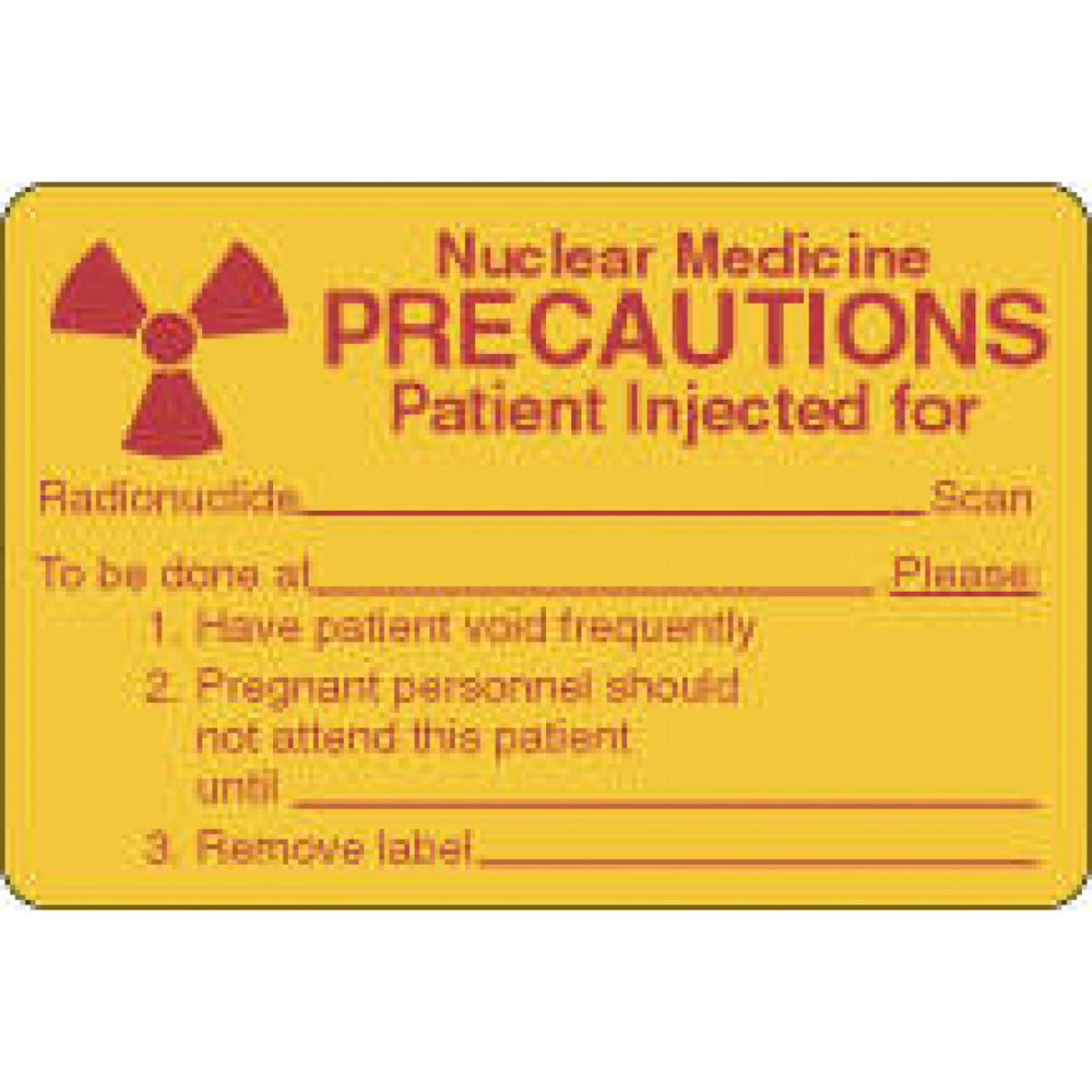 "Label Paper Permanent Nuclear Medicine 3"" X 2"" Yellow 500 Per Roll"