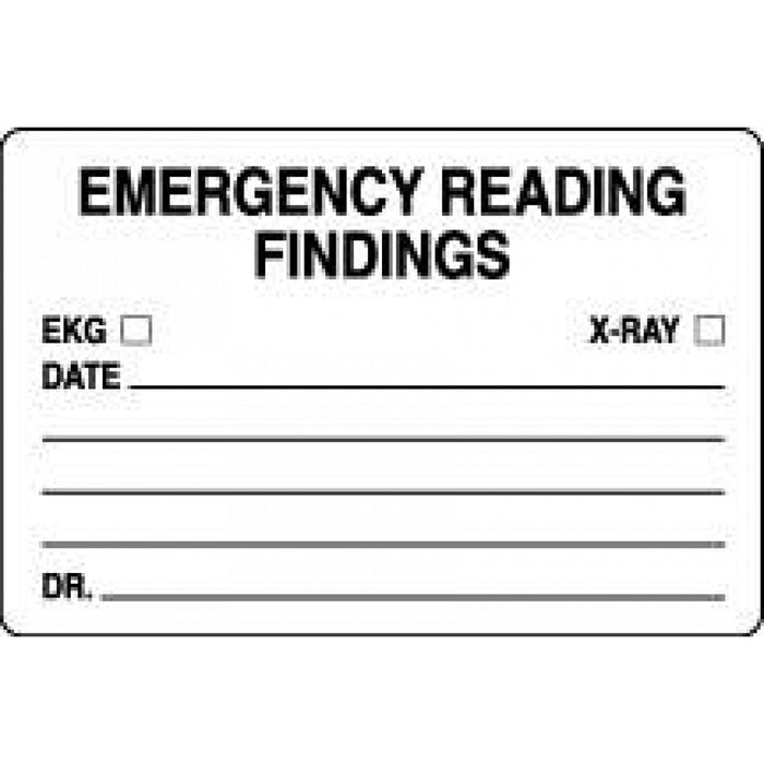 "Label Paper Permanent Emergency Reading 3"" X 2"" White 500 Per Roll"