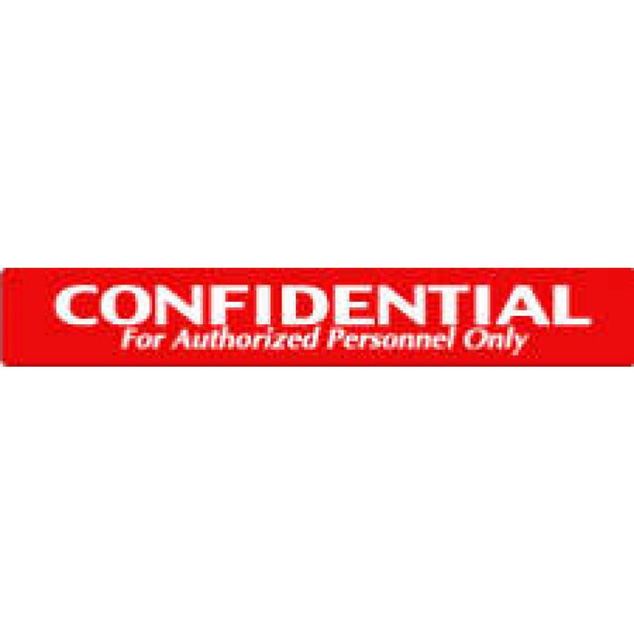 "Label Paper Permanent Confidential For 1"" 1/2"" Core 6"" X 1 Red 500 Per Roll"