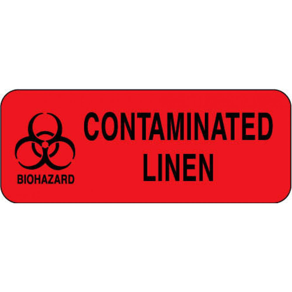 "Label Paper Permanent Biohazard Contaminated 2 1/4"" X 7/8"" Fl. Red 1000 Per Roll"