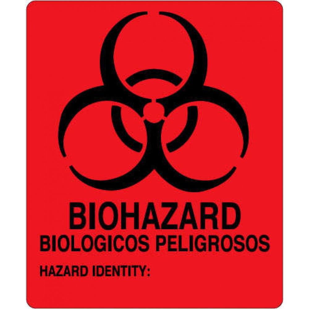 "Label Paper Permanent Biohazard Biologicos 5"" X 6"" Fl. Red 10 Per Package"