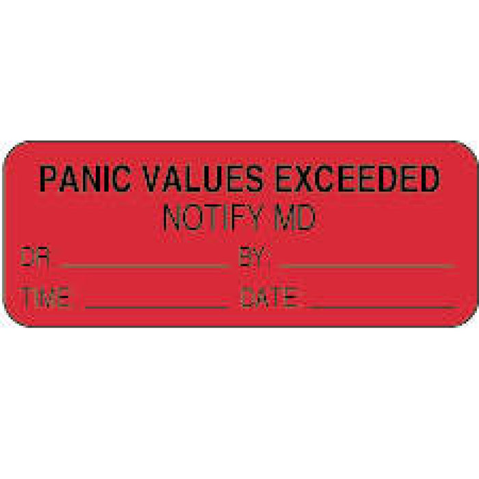 "Label Paper Permanent Panic Values 2 1/4"" X 7/8"" Fl. Red 1000 Per Roll"