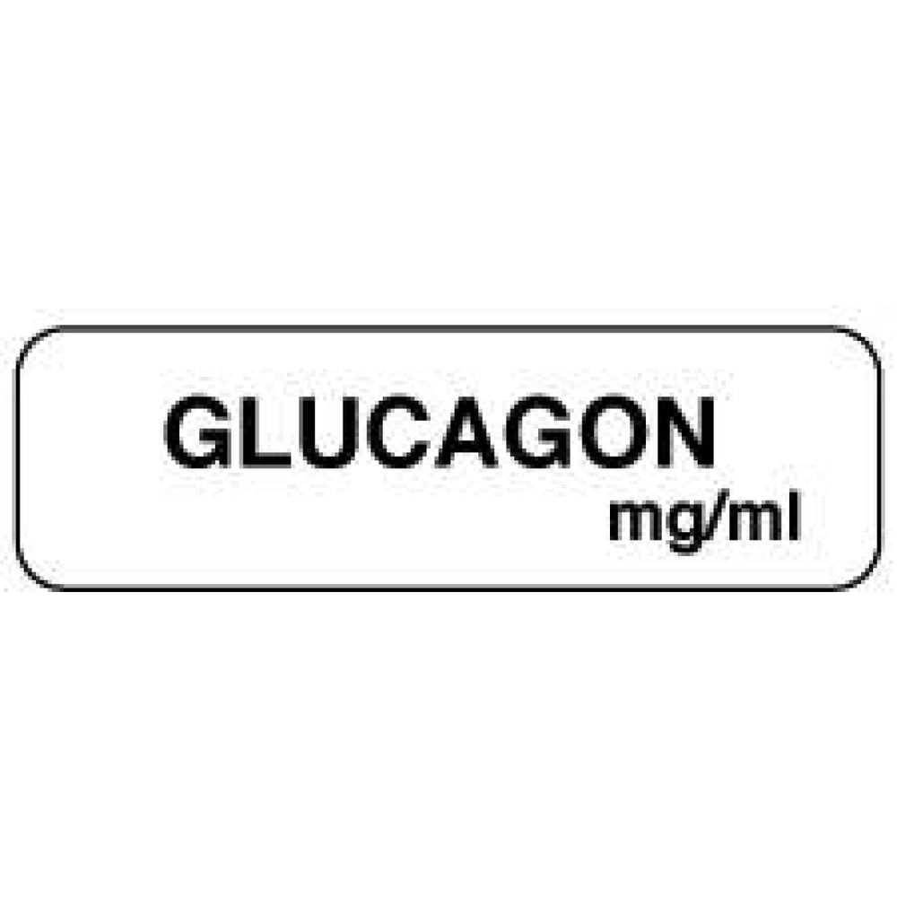 "Anesthesia Label Paper Permanent Glucagon Mg/Ml 1 1/4"" X 3/8"" White 1000 Per Roll"