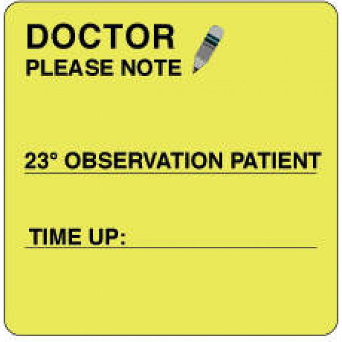 "Label Paper Permanent Doctor Please Note 2 1/2"" X 2 1/2"" Fl. Yellow 500 Per Roll"