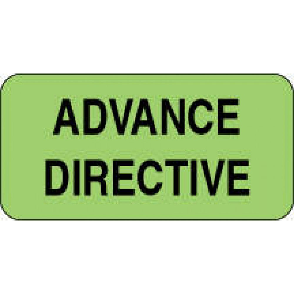 "Label Paper Permanent Advance Directive 2"" X 1"" Fl. Green 1000 Per Roll"