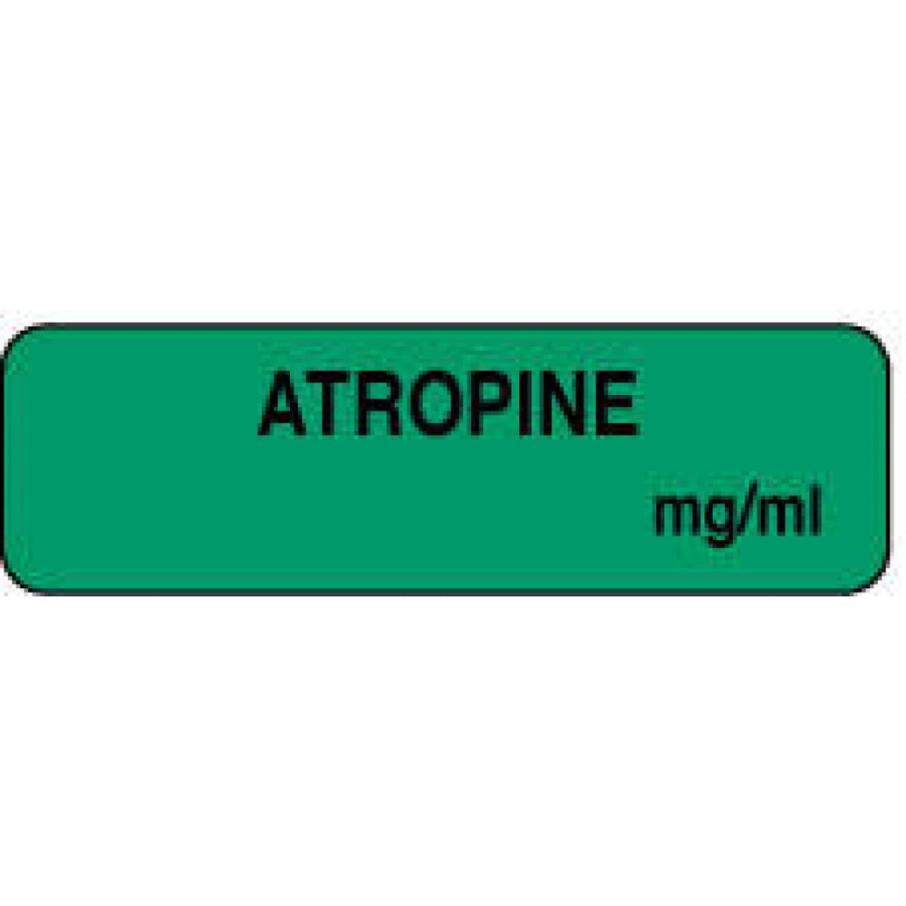"Anesthesia Label Paper Permanent Atropine Mg/Ml 1 1/4"" X 3/8"" Green 1000 Per Roll"