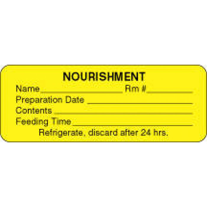 "Label Paper Permanent Nourishment Name 3"" X 1 1/8"" Yellow 1000 Per Roll"